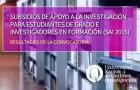 """Imagen sobre Resultados de la Convocatoria """"Subsidios de apoyo a la Investigación, SAI-2015"""""""